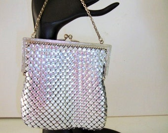Purse, Silver Mesh Chain Mail Purse-Hinged frame Handbag Evening Bag Wedding, Formal Event, Party