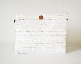 White and silver woven pouch Nereus, unique accessory with leather and son recycled