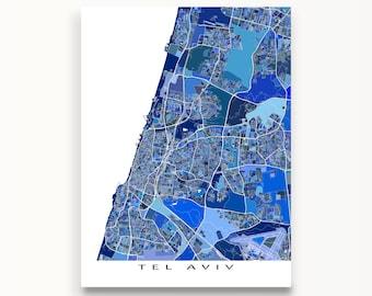 Tel Aviv Map Print, Tel Aviv, Israel, City Map Artwork