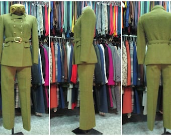 Gorgeous 60s pants outfit/Doublebreasted jacket with belt/Cigarette pants to the ankle/Mustard green tweed herringbone cloth/Size 8 US -40EU