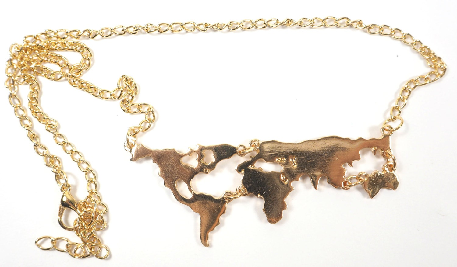 Gold Plated World Map Necklace
