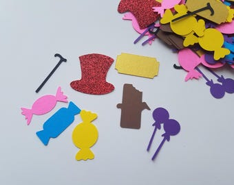 Willy Wonka Themed Confetti - Set of 160 - Candy Confetti - Dessert Buffet Decor - Party Decor - Golden Ticket - Willy Wonka Party