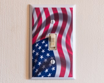 AMERICAN FLAG Plate Cover - Light Switch Wall Plate Cover - america usa us flags mancave