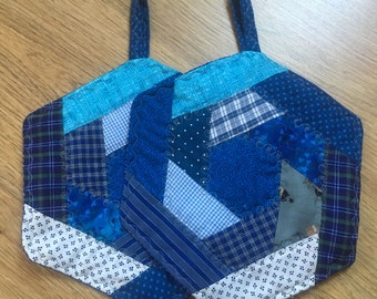 Potholders **Hexagon**, shades of blue, Patchwork, quilted