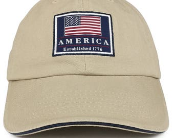 America Established 1776 Embroidered Cotton Washed Twill Baseball Cap (DP-USA31-CA)