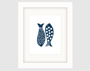 Instant Download Printable Art, Graphic Indigo Fish Print, Contemporary Folk Art Print,  Coastal Décor