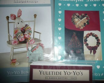 Yo-Yo Patterns- Buttons, Bows & Yo-Yo's, Bunny, Yuletide
