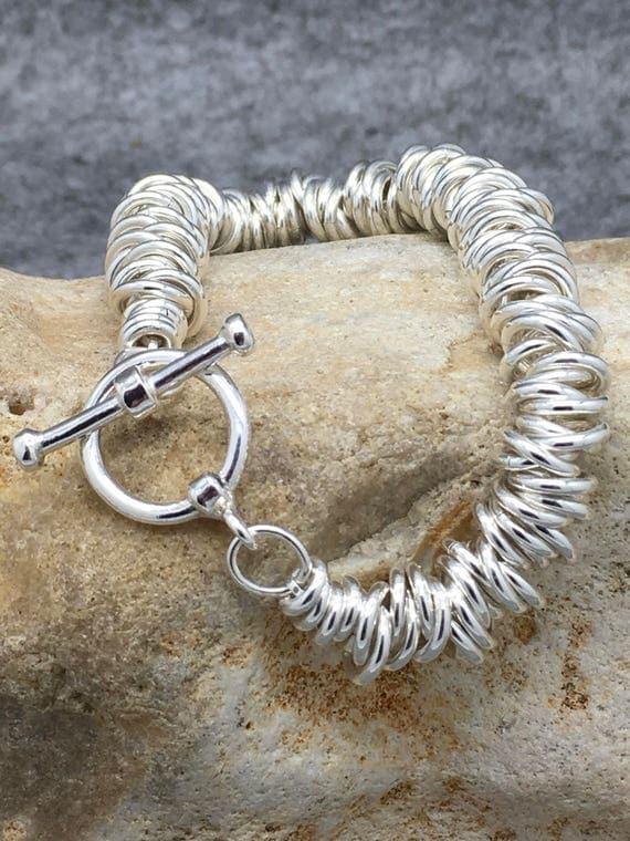 Chunky Sterling Silver Sweetie Bracelet Hallmarked.