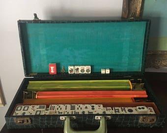 Mahjong Set Cardinal Vintage / Antique Green Alligator Case 152 Tiles 8 Jokers 5