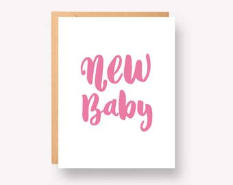 """New baby Girl - Greeting Card 4.25"""" x 5.5"""""""