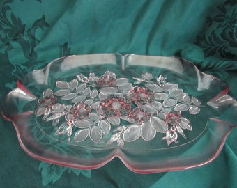 Pink Glass Floral Serving Platter, Mikasa, Wedding Decor