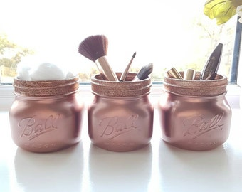 Painted Rose Gold Mason jars set of 3 - Perfect for Home Decor