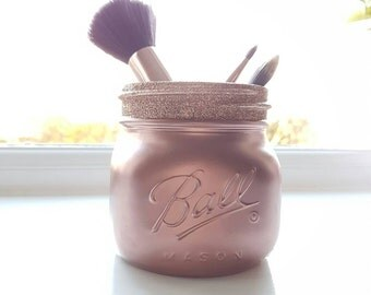 Painted Rose Gold Mason jar - Perfect for Weddings & Home Decor
