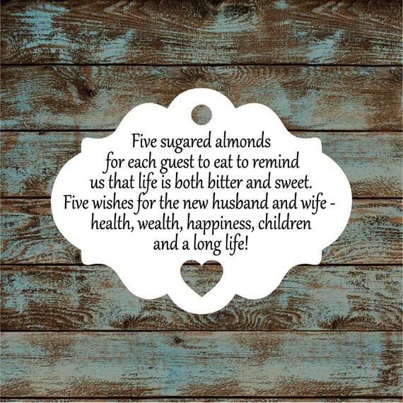 Favor Tags, Jordan Almond Favor Tags, Sugared Almond Favor Tags, Italian Wedding Favor Tags #644 Qty: 30 Tags