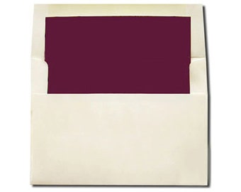 20 Cream with Burgundy Lined Envelopes - A7 and A2 Sizes - A2 SIZE ON SALE