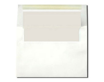 20 White with New Pearl Lined Envelopes - A7 and A2 Sizes