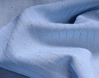 Fabric polyester Crêpe de Chine light blue stripes crease-resistant transparent