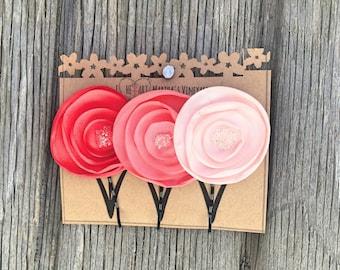 Set of 3 Poppy Bobby Pins/ Hair Floral Accessories/Hair Pins/Bridal Hair/Bridesmaid Favors/Girls Flower Hair Clips