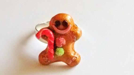 Christmas Gingerbread Man Ring - Miniature Food Jewelry - Inedible Jewelry - Holiday Jewelry - Kid's Jewelry - Kawaii Jewelry - Candy Cane