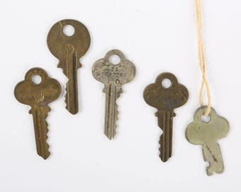 1930's-40's Lot of 5 Vintage Keys, One P & F Corbin Key, Two Independent, One Taylor Lock co, One No Name Smooth Key.