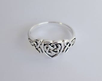 Sterling Silver Celtic Heart Ring, Size 6, Celtic Knot, Birthday Gift, Fast Shipping from USA