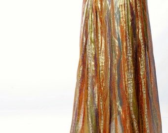 Bob Mackie Gold Metallic Sheer Maxi Skirt