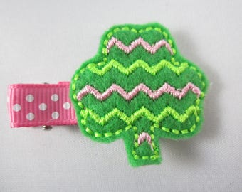 NEW chevron shamrock handmade felt embroidered hair clip