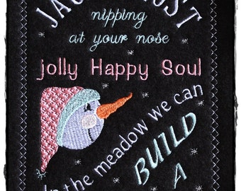 Chalkboard Snowman Machine Embroidery Design Pattern for 5x7 Hoop by Titania Creations. Instant Download