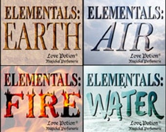 Elementals - Earth * Air * Fire * Water - Limited Edition Original Fragrances - Love Potion Magickal Perfumerie