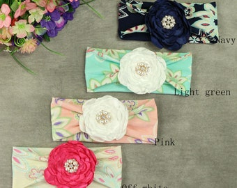 Pre- order Simple flower head band elastic cotton baby headwrap, floral bead turban baby shower gift infant headband