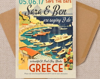 Vintage Greek Islands Postcard Wedding Save the Date Cards