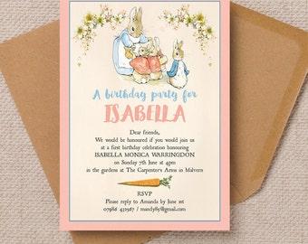 Personalised Flopsy Bunnies Beatrix Potter Christening Baptism Invitation Cards