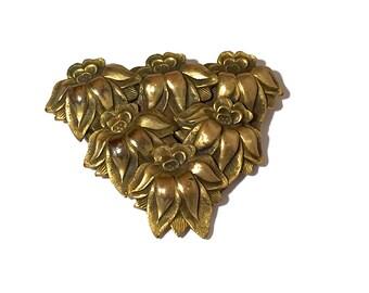 Antique Victorian Dress Clip, Art Nouveau, Brass, Raised Flower, Repousse Design, Gilt Plated, 1910s, Dress Clip, Sash Clip, Antique Jewelry