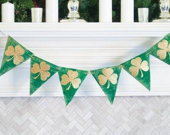 Gold Clover Banner, Irish Banners, Burlap St Patty's Day Banner, St. Patrick's Day Banner, Gold Shamrock Banner, St Pattys Banner, B430