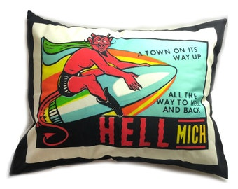 Hell Michigan Vintage Travel Sticker Pillow with Pillow Insert