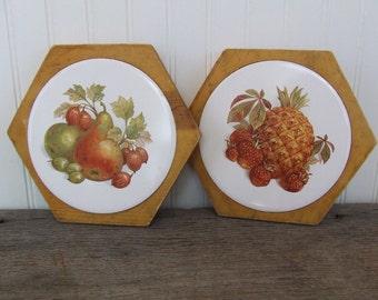 Wood Trivets, Wood Hot Pads, Vintage, Fruit design Hot Pads, Set of 2