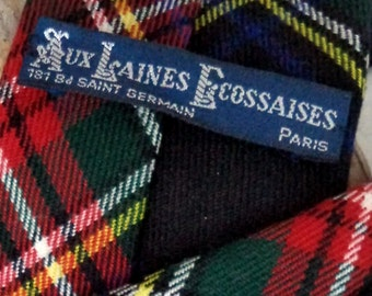 Rare Aux Laines Ecossaises Paris Skinny Scottish Wool tie Necktie Argyle Tartan Plaid Check Blue Red Yellow Gift Tie Outlander Xmas Prop
