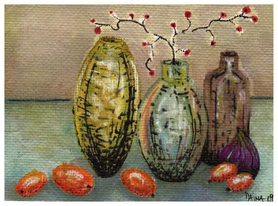 Vases And Fruits - Art Print Of My Original Illustration DIN A5