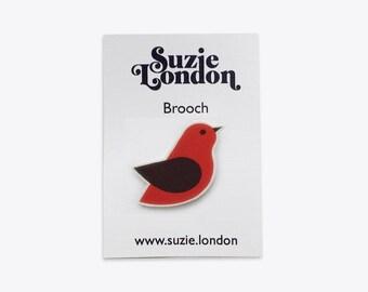 Songbird Brooch in Red