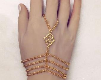 Tribal Hand Chain Tribal Gypsy Bracelet Hand Jewelry Hand Bracelet Gold Hand Chain Tribal Jewelry Bohemian Hand Bracelet Gold Slave Bracelet