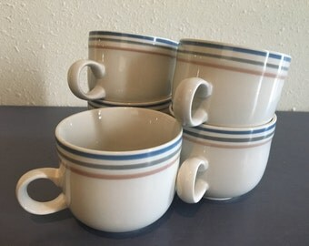 Five vintage International China ceramic coffee mugs / tea cups - creamy white with blue grey pink striped rims for Old Florida kitchen!