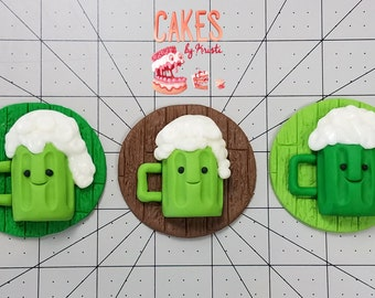 Happy Green Beer Cupcake Toppers: Set of 6 (MADE TO ORDER)