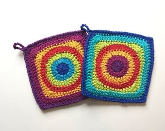 Set of 2 • Bollywood inspired, handmade, crochet, square potholders