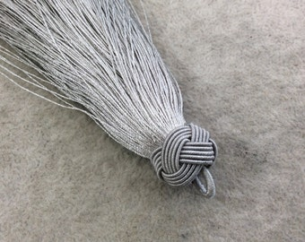 """4"""" Knot Capped Silver Gray Silk/Polyester Thread Tassel - Measuring 17mm x 110mm, Approx. - 30+ Colors Available, See Related Items Link!"""