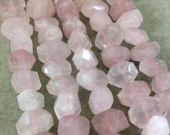 """Natural Rose Quartz Faceted Freeform Nugget Beads - Sold by 15.5"""" Strands (31 Beads per Strand) - Measuring 10-13mm x 15-20mm, Approx."""