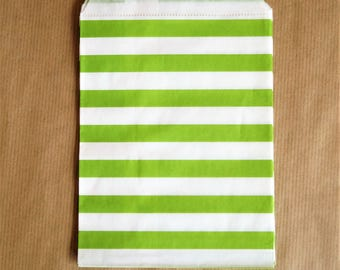 Set 5 green and white rafter bags 13 x 18 cm