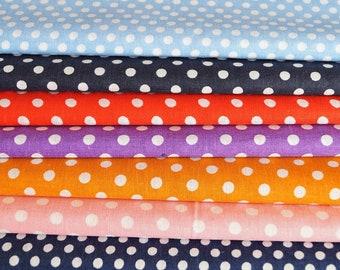 Set of 7 pea fabrics, navy blue, sky blue, red, pink, purple, orange, 20 * 24 cm