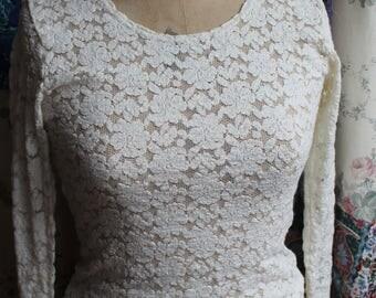 Stretch lace cream top REF588