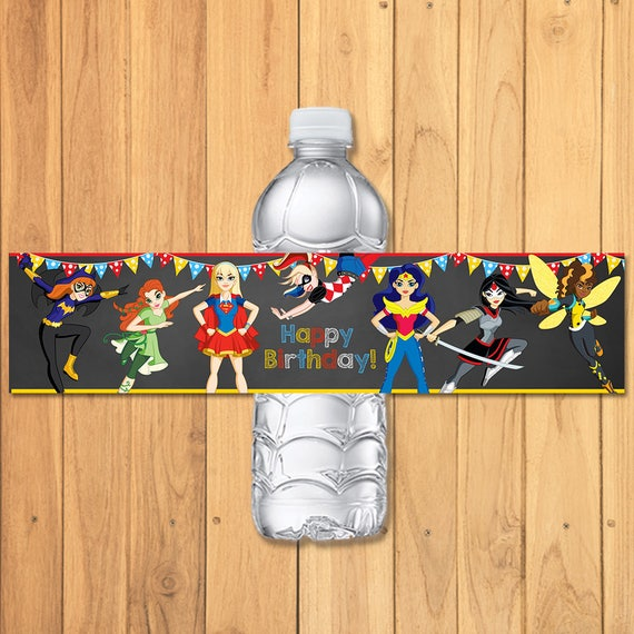 DC Superhero Girls Drink Label Chalkboard - DC Superhero Girls Water Bottle Label - DC Superhero Girls Favors - Dc Superhero Girls Birthday