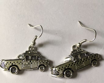 new york style taxi cab silver plated charm earrings, holiday gift, gifts for her.
